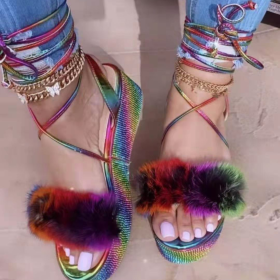 Thick soles, rhinestones, bandages, colorful sandals