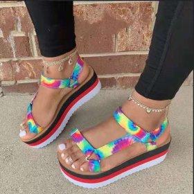 Color, thick soles, Velcro, sandals