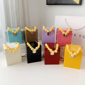 Acrylic, box bag, beaded, portable, messenger bag