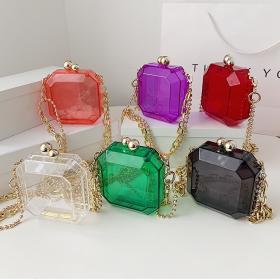 Transparent, acrylic, handbag, small square bag, banquet, hand bag