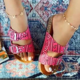 Belt buckle, beach shoes, cashew, satin, sandals