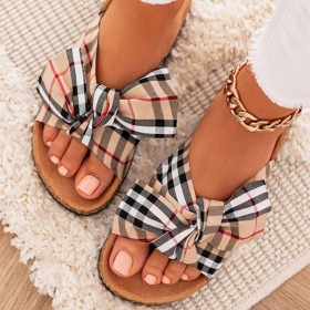 Thick soles, bows, slippers, plaid, slippers