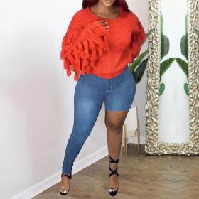 High waist, slim, fashion, creative, jeans