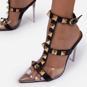 High heel, transparent, rivet, shallow mouth, t-button, sandals