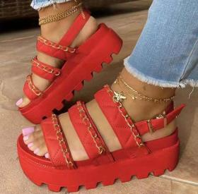 Thick sole, middle heel, metal chain buckle, Roman sandals
