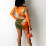 Drawstring, tie dye, print, skirt, two piece set