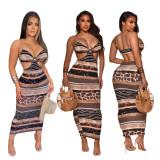 Backless, sling, print, dress