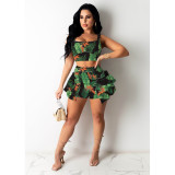 Bohemian, ruffle, short sleeve, two piece set