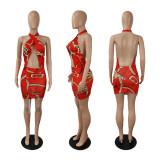 Backless, print, dress