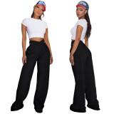 Solid color, double waist, sports, leisure, wide leg pants