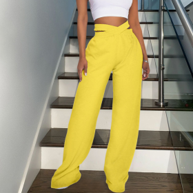 Solid color, double waist, sports, leisure, wide leg pants
