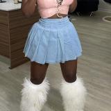 Casual, denim skirt, pleated skirt