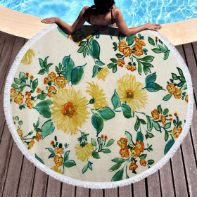 Round, printed, beach towel, microfiber, tassel