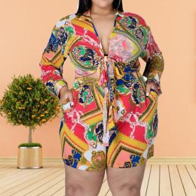 Printing, fashion, leisure, large size, suit