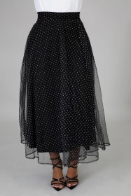 Leisure, high waist, polka dot, mesh, skirt