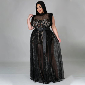 Perspective, mesh, long skirt, large size, dress, two piece suit
