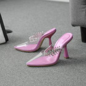 Rhinestones, pointed heads, high heels, sandals