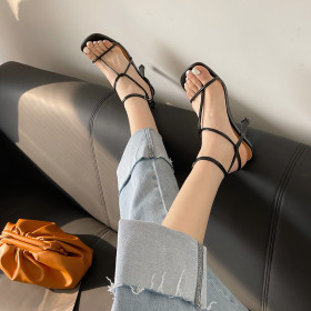High heels, sandals, round head, open toe, high heels
