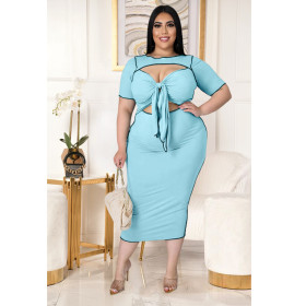 Solid color, reverse side, hollow out, bandage, dress