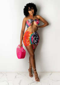Fashion, tie dye, hip skirt, two piece set