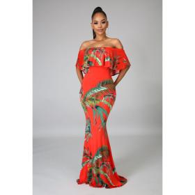 Print, one line collar, bra, dress