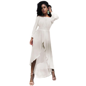 Bandage, chiffon, one line collar, waist, irregular, large skirt, dress