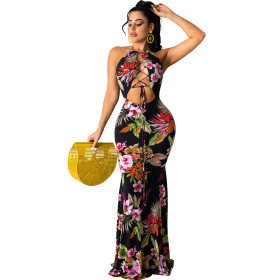 Fashion, sexy, neckline, backless, printed, long skirt, dress with tie cord