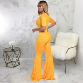 Sexy, fashion, solid color, flared pants, jumpsuit