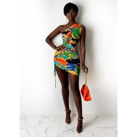 Print, pleat, navel, suspender, hip skirt