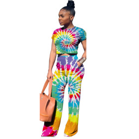 Casual, colorful, printed, two piece set