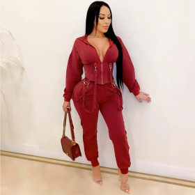 Fashion, sexy, tight, casual, hooded, two piece suit