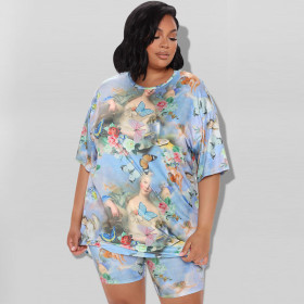 Printed T-shirt, suit