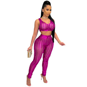 Hollow out, fashion, bright color, buttocks, two piece set