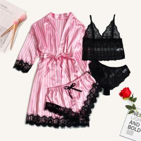 Lace bra, 4-piece underwear, 4-piece sexy jacket