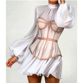 Chiffon, screened, ultra thin, dress