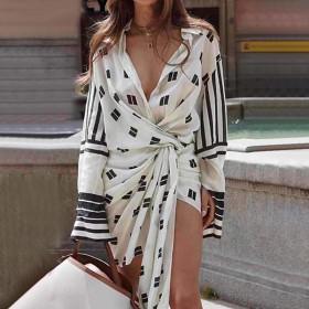 Printed, pleated, irregular, shirt, dress