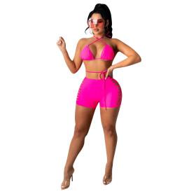 Bikini, pattern, hollow out, hot pants, two piece set
