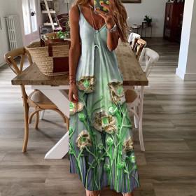Sling, sleeveless, loose, printed, dress