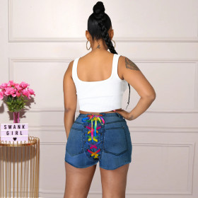 Fashion, back bandage, denim, shorts