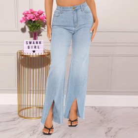 High waisted, slim, split, denim, slim pants