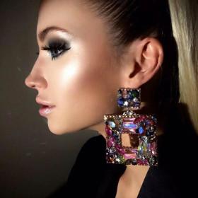 Square, alloy, diamond, water drill, glass drill, full drill, earrings