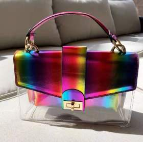Candy color, metal chain, colorful, hand-held bag, mother bag