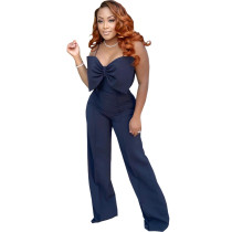 Fashion, sexy, solid color, suspender, back, invisible, zipper, slim fit, jumpsuit