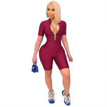 Fashion, solid color, zipper, jumpsuit
