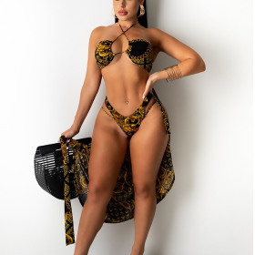 Bikini, print, three piece set, suit
