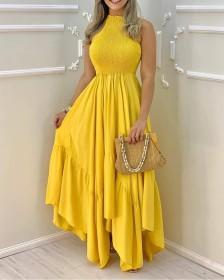 Neck, lace up, sleeveless, long, dress