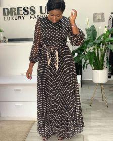 Polka dot, print, chiffon, dress, robe, pleat