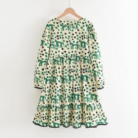 Mother daughter, parent-child dress, long sleeve, print, dress