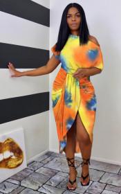 Fashion, tie dye, irregular, print, dress