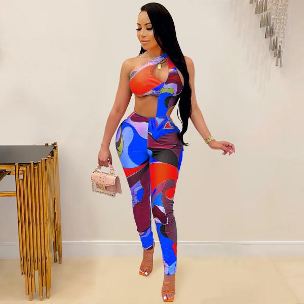 Fashion, print, irregular, one shoulder, sling, tights, pants, jumpsuit